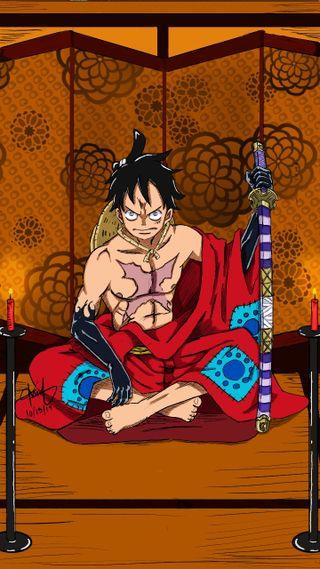 Обои на телефон самурай, мультфильмы, луффи, аниме, wano arc, luffytaro, gomogomono