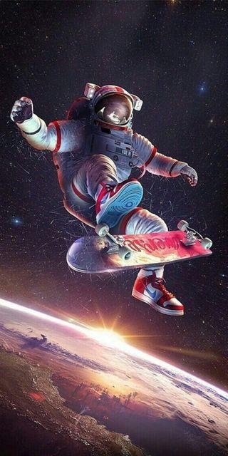 Обои на телефон скейт, солнце, скейтборд, наса, космос, горизонт, nasa