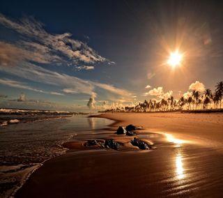Обои на телефон sunset coast beach, милые, приятные, прекрасные, закат, пляж, взгляд, берег