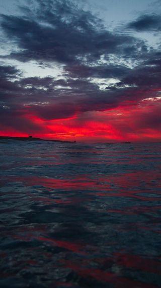 Обои на телефон горизонт, пейзаж, океан, облака, море, красые, threateningly