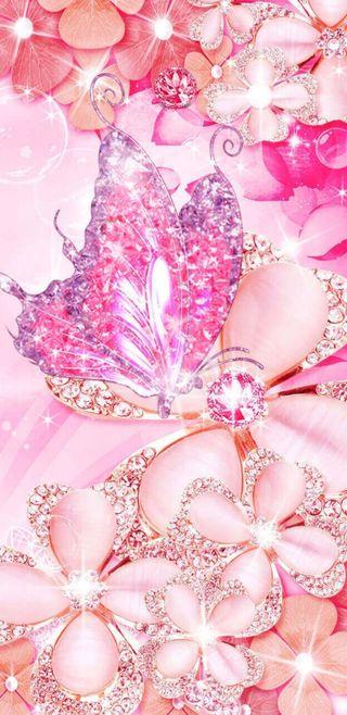 Обои на телефон симпатичные, цветы, розовые, кристалл, бабочки, crystalbutterfly
