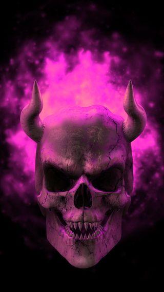 Обои на телефон человек, пламя, череп, розовые
