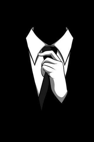 Обои на телефон черные, анонимус, галстук