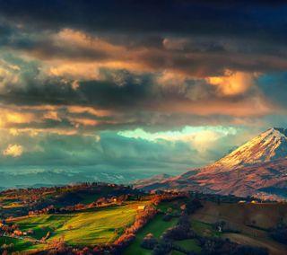Обои на телефон холм, природа, поле, пейзаж, облака, италия, вид, the apennines