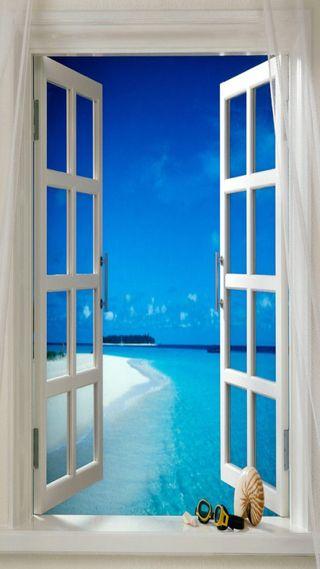 Обои на телефон окно, пляж, window to beach
