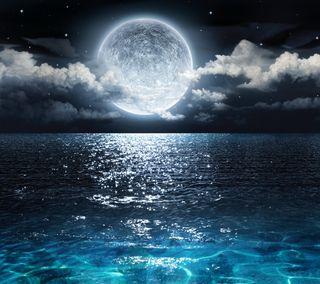 Обои на телефон waters, природа, ночь, море, луна, сияние, лунный свет