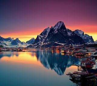 Обои на телефон пейзаж, озеро, горы, снег, зима, деревня, вода