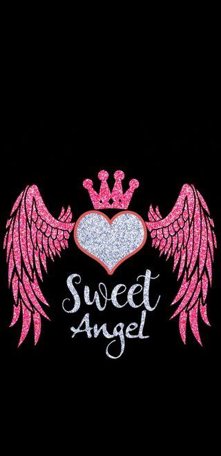 Обои на телефон крылья, сердце, розовые, милые, корона, блестящие, ангел, sweet angel