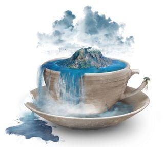 Обои на телефон чашка, песок, остров, облака, море, минималистичные, манипуляция, вода, cup of imagination, cup
