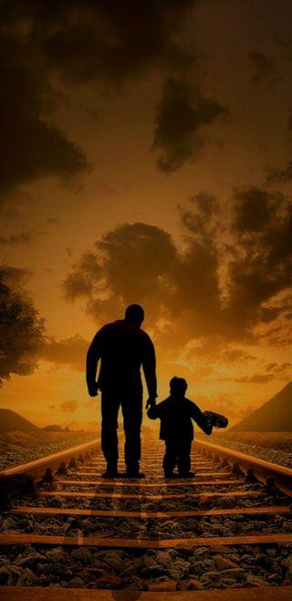 Обои на телефон семья, путь, отец, мальчик, любовь, закат, железная дорога, teacher, son, man, dad love, 4k