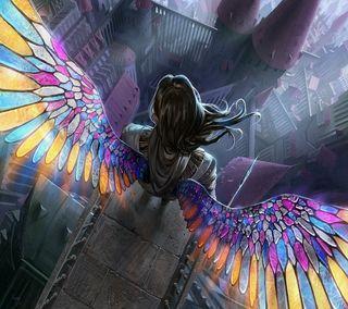 Обои на телефон летать, крылья, рисунки, мультфильмы, красочные, аниме