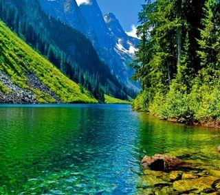 Обои на телефон mountains - river, природа, пейзаж, деревья, горы, река