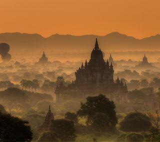 Обои на телефон джунгли, туман, облака, лес, азия, азиатские, pagoda