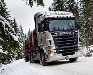 Обои на телефон грузовик, зима, scania, hd
