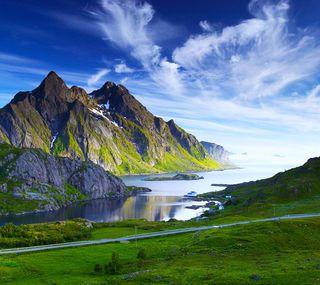 Обои на телефон трава, спокойные, синие, пейзаж, озеро, зеленые, горы
