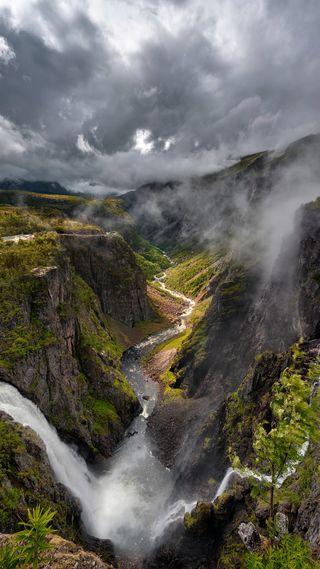 Обои на телефон облачно, туман, река, облака, горы, водопад, вода