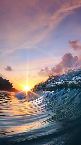 Обои на телефон волна, природа, пляж, море, лето, закат, sunset wave hd