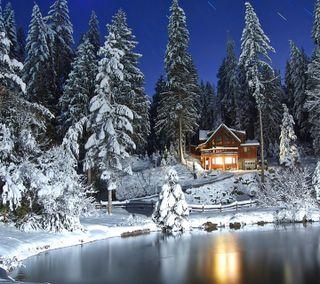 Обои на телефон естественные, снег, сезон, природа, новый, лес, крутые, зима, домик, winter cabin