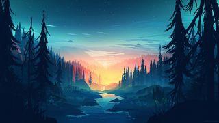 Обои на телефон плоские, река, минимализм, лес, закат, sundown, mikael forest