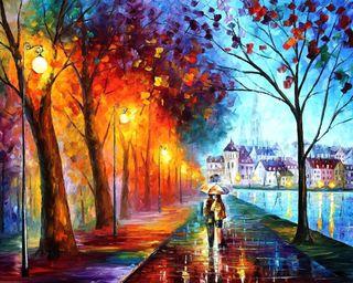 Обои на телефон картина, улица, пара, любовь, дорога, дождь, деревья, город, love paintwork