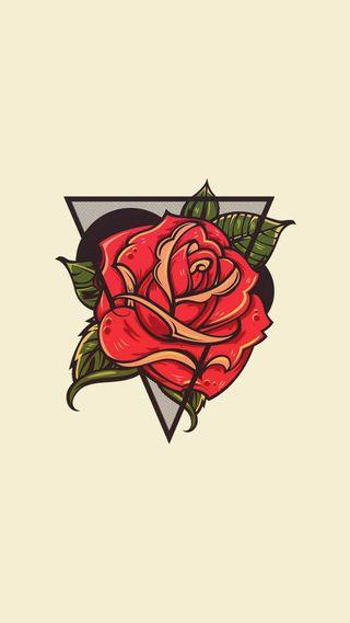 Обои на телефон rose triangle, цветы, розы, тату, треугольник