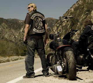 Обои на телефон сыны анархии, ряд, мотоциклы, мотоцикл, darkdroid