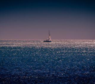Обои на телефон лодки, синие, море, горизонт, вечер