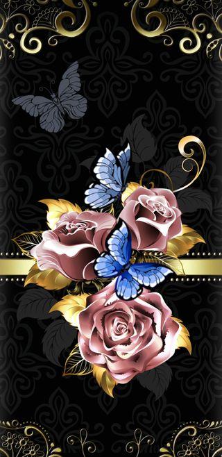 Обои на телефон винтаж, цветы, симпатичные, розы, прекрасные, золотые, бабочки, rosegold, butterflyroses