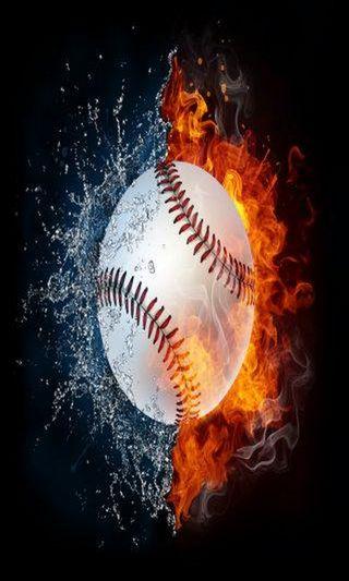 Обои на телефон спортивные, спорт, пламя, огонь, мяч, вода, бейсбол, арт, mlb, ball on flames, art