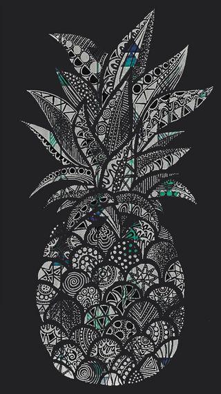 Обои на телефон фрукты, черные, арт, ананас, art