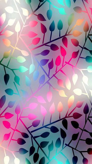 Обои на телефон шаблон, фон, сияющие, листья, красочные