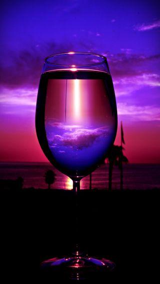 Обои на телефон восход, фиолетовые, тропические, стекло