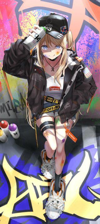 Обои на телефон хайп, граффити, девушки, блондинки, аниме, graffiti anime girl, blonde hype