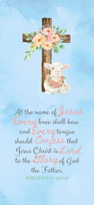 Обои на телефон ягненок, лук, христианские, пасхальные, овца, крест, исус, весна, бог, библия, verse, every knee shall bow