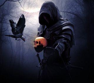 Обои на телефон готические, я, череп, темные, смерть, луна, готы, ворона, ворон, воин, come with me