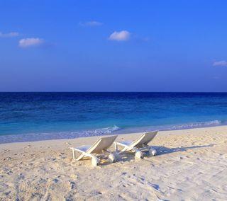 Обои на телефон пляж, синие