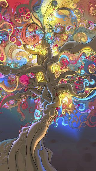 Обои на телефон рисунок, жизнь, дизайн, дерево