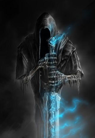 Обои на телефон тьма, фантазия, ужасы, смерть, синие, пламя, ассасин, арт, welcome to hell, blue flame, art