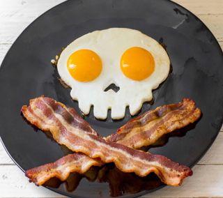 Обои на телефон киллер, яйца, череп, зло, забавные, killer breakfast, crossbones, breakfast, bacon