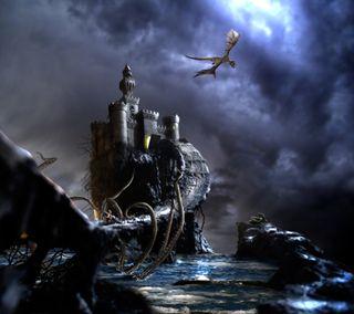 Обои на телефон дрейк, фантазия, темные, стражи, змея, змеевидный, замок, дракон, dragon, castle guardians