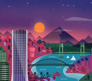Обои на телефон солнце, мост, материал, закат, дизайн, гугл, город, google