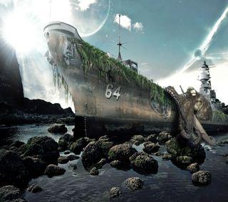 Обои на телефон последние, прекрасные, новый, красочные, корабли, камни, абстрактные, hd, 3д, 3d monster ship, 3d, 2013