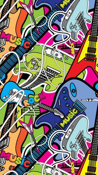 Обои на телефон графика, цветные, рок, гитары