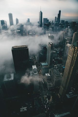 Обои на телефон тема, ночь, красочные, здания, город, горизонт, вниз, вид, вечер, skyline, put the litle down, hd, 4k