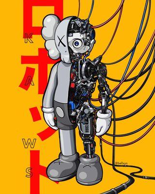 Обои на телефон робот, арт, kaws, companion, catoon, art