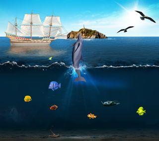 Обои на телефон черепаха, солнце, рыби, рыба, птицы, подводные, остров, небо, море, корабли, дельфины, волна, underwater hd
