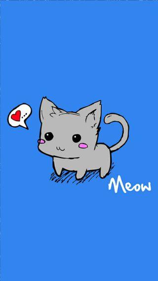 Обои на телефон питомцы, синие, мяу, мультфильмы, кошки