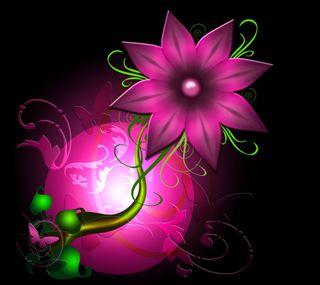 Обои на телефон цифровое, цветы, цвести, розовые, листья, бабочки, арт, абстрактные, pink flower, petal