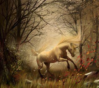 Обои на телефон единорог, осень, лошадь, листья, лес, картина, деревья