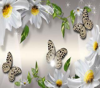 Обои на телефон цветочные, цветы, белые, бабочки, perfection